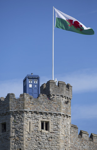 CARDIFF, UNITED KINGDOM - AUGUST 07: The TARDIS appears on the top of Cardiff Castle ahead of the